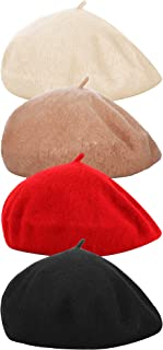 4 Pieces Women Beret Hat French Style Beret Beanie Cap Solid Color Winter Hat