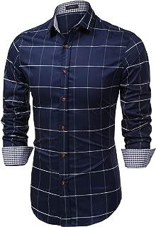 Men's Fashion Long Sleeve Plaid Button Down Shirts Casual Dress Shirt