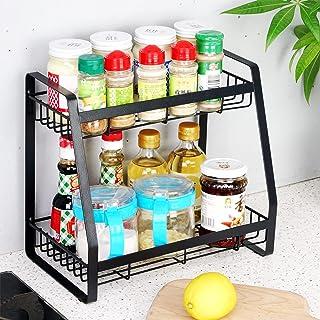 Homease Étagère à épices à 2 étages - Noir - Capacité élevée - Capacité de charge