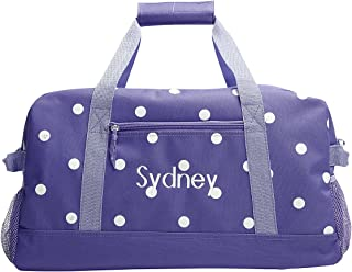 Personalized Kids Purple with White Dots Small Duffel Bag, Girls sports bag (9