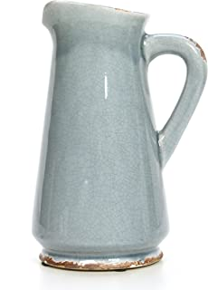 Hosley 9.5 Inch High Blue Ceramic Pitcher Vase Ideal Gift for Weddings Special Occasions Garden Setting Home Office Decor Dried Floral Arrangements Spa Aromatherapy Settings O5