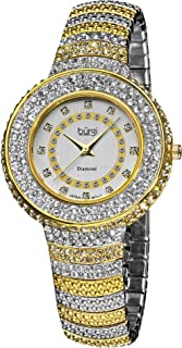 Burgi Diamond Accent Crystal Fashion Watch - Twelve Genuine Diamond Hour Markers On Three Rows Crystals on Bezel - BUR048