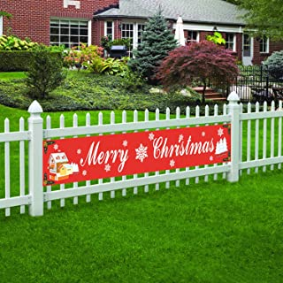 Large Merry Christmas Banner, Be Merry Flag, Happy New Year Party Outdoor Decoration Supplies (8.2 x 1.3 feet)