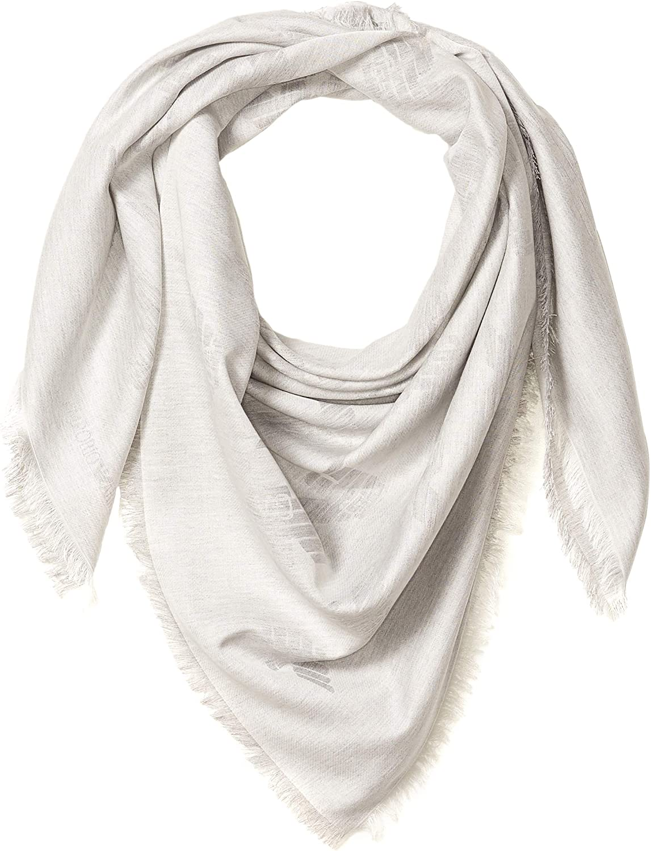 Emporio Armani womens Cotton-blend Square Scarf With Logo Detail