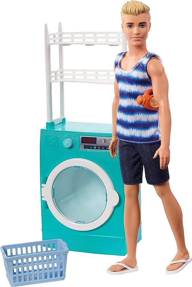 Barbie,lavanderia di ken bambola e lavatrice/asciugatrice con cestello rotante e 2 accessori FYK52