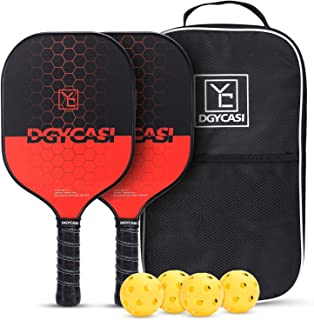 YC DGYCASI Pickleball Paddles,Pickleball Paddle Set of 2, Carbon Fiber Face Cushion Lightweight Honeycomb Composite Core P...