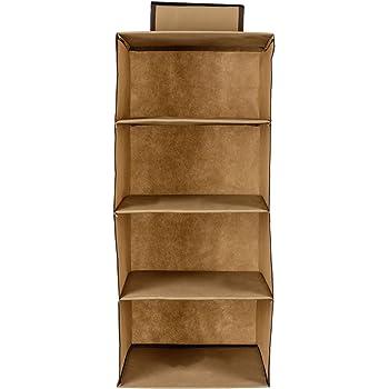 SHREY Creation Hanging 4 Shelf Wardrobe Organizer-Beige Closet Organizer(Sold by Root Two)…
