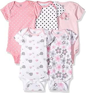 GERBER Baby Girls' 5-Pack Variety Onesies Bodysuits, Elephants/Flowers, 6-9 Months