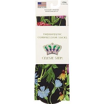 Celeste Stein Therapeutic Compression Socks, Black Bellagio, 15-20 mmHg, Moderate