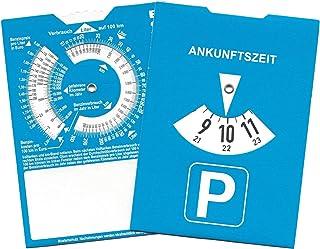 Europa Parkscheibe Parkuhr mit Benzinrechner Rückseite neutral ohne Werbung (50)