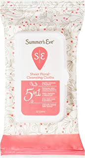 Summer's Eve Cleansing Cloths   Sheer Floral  32 Count   Pack of 4   pH-Balanced, Dermatologist & Gynecologist Tested, 32 Count (Pack of 4)