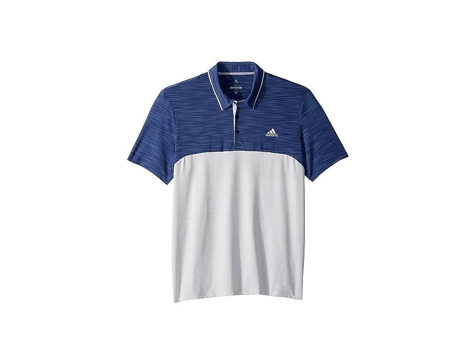 adidas Golf Ultimate Heather Blocked Polo (Noble Indigo Heather/Grey One Heather) Men
