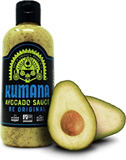 Kumana Avocado Sauce - Original. A Savory Keto Friendly Hot Sauce made with Ripe Avocados and Chili Peppers. Ketogenic and Paleo. Sugar Free, Gluten Free and Low Carb. 13.1 Ounce Bottle.
