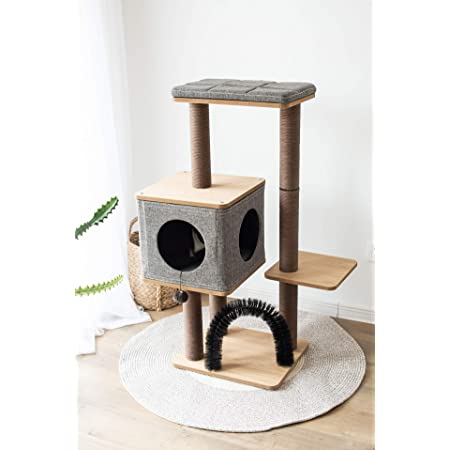 PetPals Three-Level Elevated Cat Tree Condo with Massage & Particle Board, Grey (PP18502)