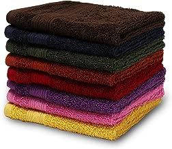 Turkish Bath Cotton 550 GSM 33X33 cm Face Towel -Multi-Coloured-Set of 8