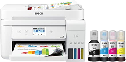 Epson EcoTank ET-4760 Wireless Color All-in-One Cartridge-Free Supertank Printer with Scanner, Copier, Fax, ADF and Ethern...