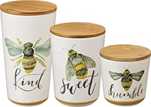 Primitives by Kathy Kitchen Canisters, Set of 3, Bees – Kind, Sweet, Humble