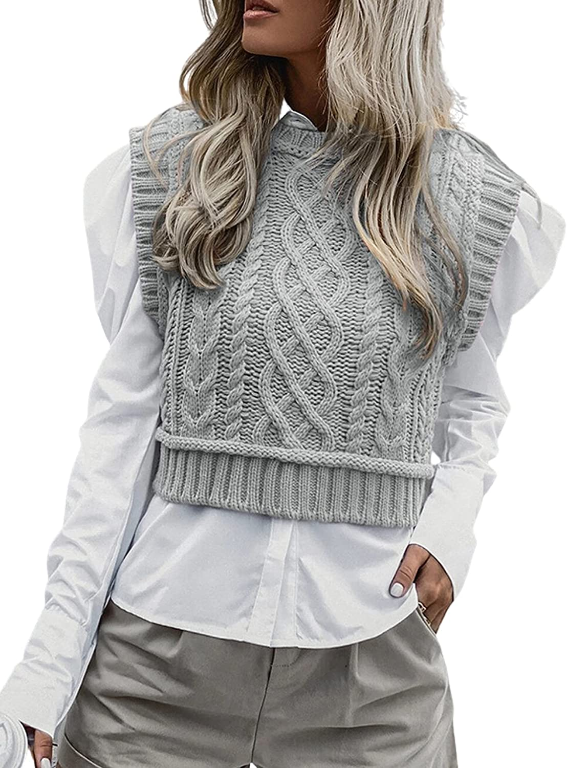 Dqbeng Women's Preppy Cable Knit Vests Sleevel Sweater New arrival Mock Milwaukee Mall Neck