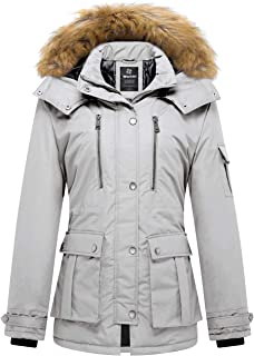 Wantdo Women's Thickened Parka Coat with Removable Faux Fur Hood