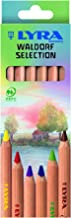 LYRA Waldorf Selection Giant Triangular Colored Pencil, Unlacquered, Set of 6 Super Ferby Pencils, Assorted Colors (3711061)