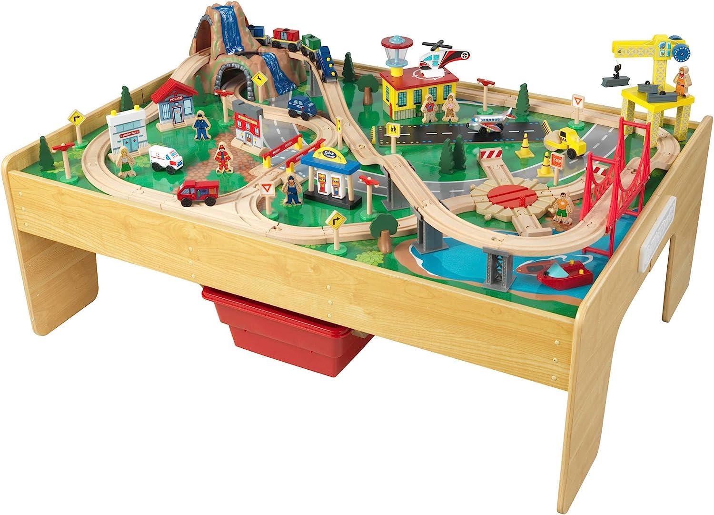 Cheap bargain KidKraft Adventure Town Railway Wooden Train with Set EZ safety Table