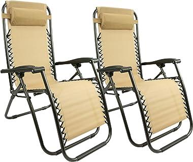 MaxxGarden Lot de 2 chaises Longues, Pliables et réglables, idéales pour Le Jardin, Le Balcon, Le Camping, la terrasse (Taupe
