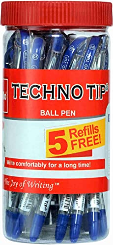 Cello Technotip Ball Pen Jar (Pack of 20 pens in Blue ink with 5 free Blue refills) |Fine writing ball pens | Exam Pe...