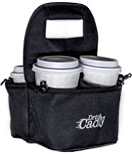 Portable Drink Carrier and Reusable Coffee Cup Holder by Drink Caddy - 4 Cup Collapsible Tote Bag with Organizer Pockets Safely Secures Hot and Cold Beverages - Perfect for Food Delivery and Take Out