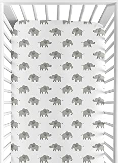Sweet Jojo Designs Grey and White Baby or Toddler Fitted Crib Sheet for Mint Watercolor Elephant Safari Collection