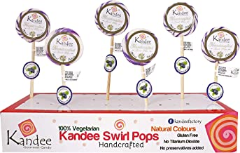 Kandee Swirl Pops Blueberry Blast Round Natural Candy Lollipops (2.25 Inch)- Pack of 6