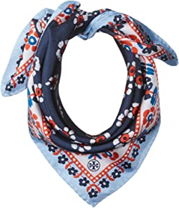 Tory Burch - Stamped Floral Silk Neckerchief
