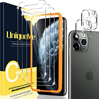[2+3 Pack] UniqueMe Compatible for iPhone 11 Pro Max 6.5 inch Screen Protector and Camera Lens Protector, Tempered Glass H...