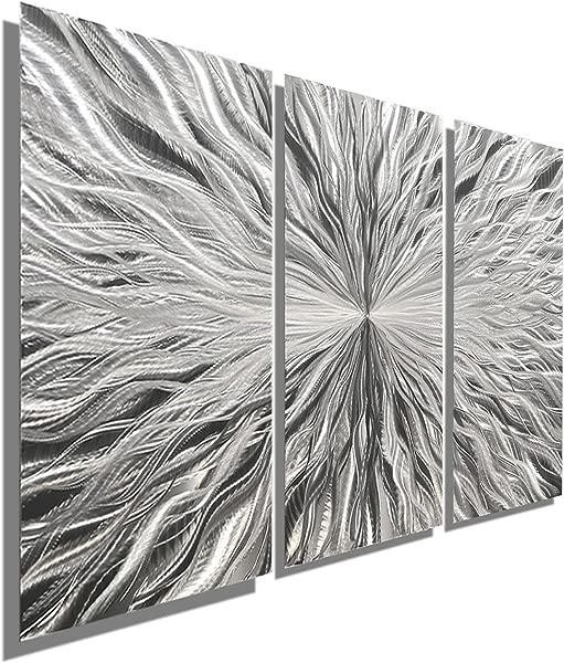 Statements2000 Silver Modern Metal Wall Art Sculpture By Jon Allen Multi Panel Tryptych Home D Cor Vortex 3P 38 X 24