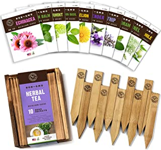 Herb Garden Seeds for Planting - 10 Medicinal Herbs Seed Packets Non GMO, Wood Gift Box, Plant Markers - Herbal Tea Gifts ...