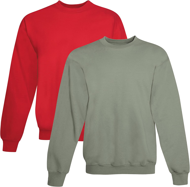 Hanes mens 7.8 oz. ComfortBlend EcoSmart 50/50 Fleece Crew (P1607) DEEP RED/STONEWASH GREEN
