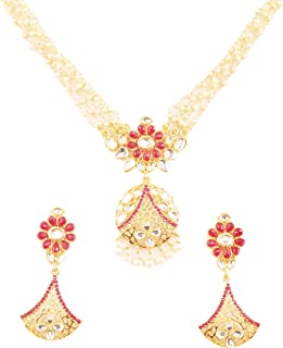 New Indian Bollywood Desire Royal Mughal Kundan Polki Floral Geometric Theme Faux Ruby Strung with Intertwined Faux Pearls Strings Designer Jewelry Necklace Set in Gold Tone for Women.