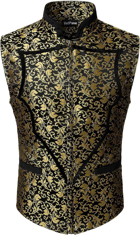 VATPAVE Mens Heart Shaped Classic Paisley Jacquard Waistcoat Zip Up Floral Vest
