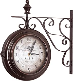 Yosemite Home Decor Double Sided Iron Wall Clock, Multi