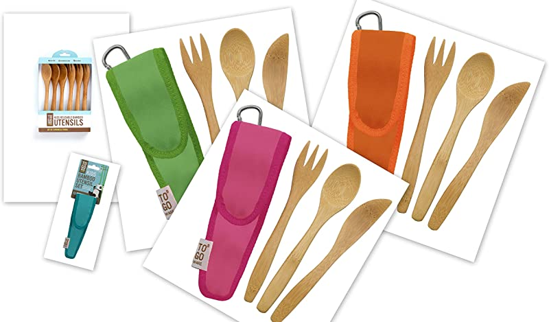 To Go Ware Bamboo Utensils For Kids Fork Spoon Knife Set In Holder With Carabiner Multi Pack Of 4 In Different Colors