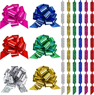 48 Pieces 4.5 Inches Wide Gift Pull Bows Christmas Gift Wrap Pull Bows with Ribbon for Christmas Decoration, Gift Wrapping, Wedding Gift Decoration (Style A)