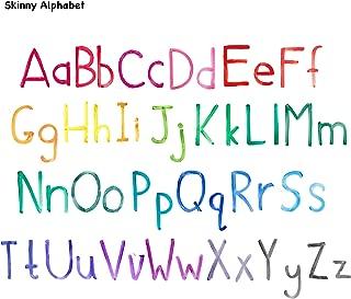 BOXELS Watercolor Alphabet Adhesive Removable Fabric or Vinyl Wall Decal Sticker   Home, Children's & Nursery Room Decor, School (Skinny, Vinyl)