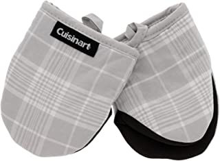 Cuisinart Neoprene Mini Oven Mitts, 2pk - Heat Resistant Oven Gloves Protect Hands and Surfaces with Non-Slip Grip and Hanging Loop-Ideal Set for Handling Hot Cookware, Bakeware- Glen Plaid, Grey