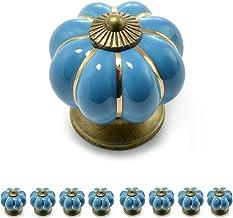 """Set meubelknoppen """"Krone"""" van porselein met antieke bronzen versiering, (set in vele verschillende kleuren verkrijgbaar), ..."""