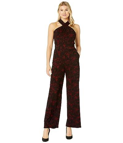 MICHAEL Michael Kors Glam Lace Halter Neck Jumpsuit (Red Currant) Women