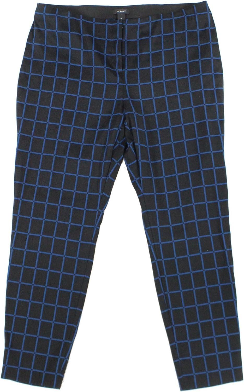 Alfani Womens Straight Window Pane Print Skinny Pants