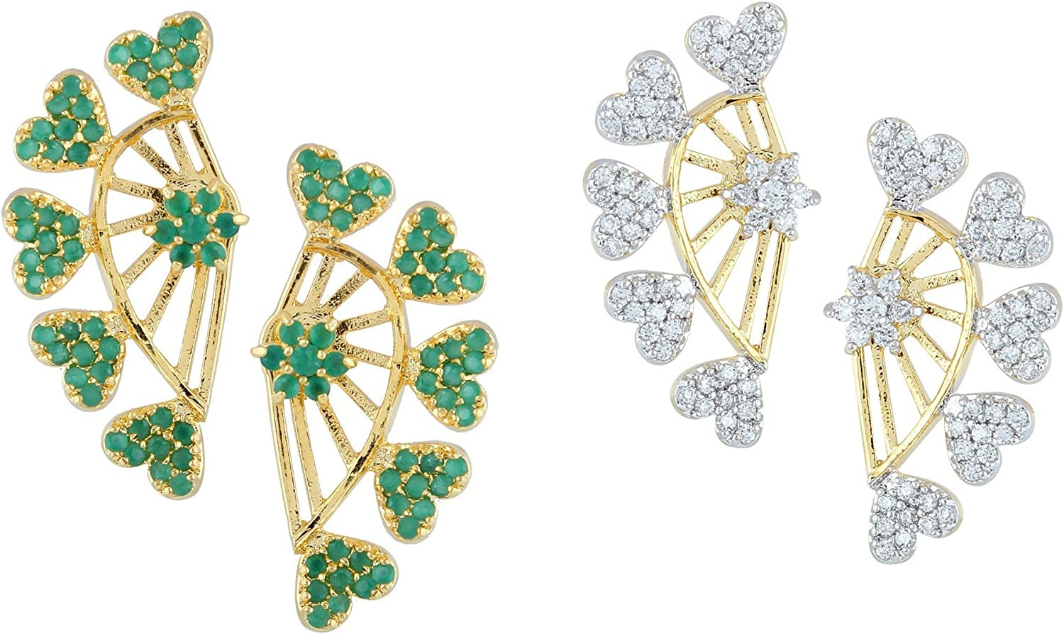 Combo of Indian Bollywood Ethnic Designer Ear Cuffs Earrings Jewelry for Women