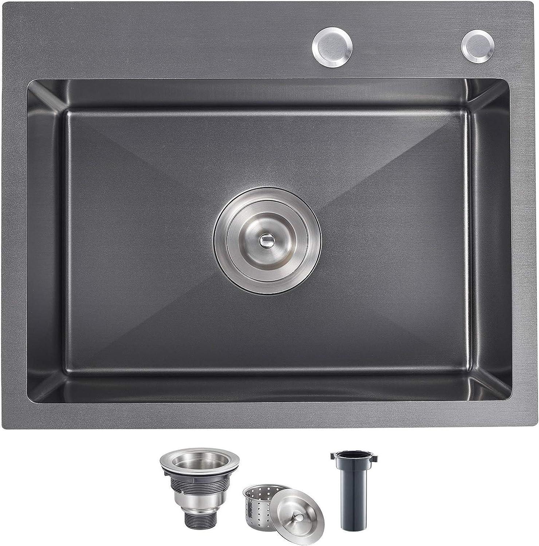Industry No. 1 MENATT 20-inch Top-Mount Handmade Sink SUS304 Max 41% OFF Kitchen Stainless