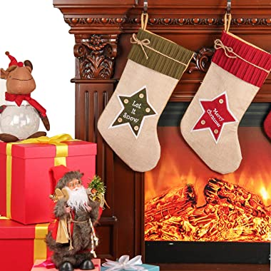 Moonet 18inch Christmas Stocking Set of 3,Red Green and Red&Green, Let It Snow,Merry Christmas Pentagram Button Bowknot S