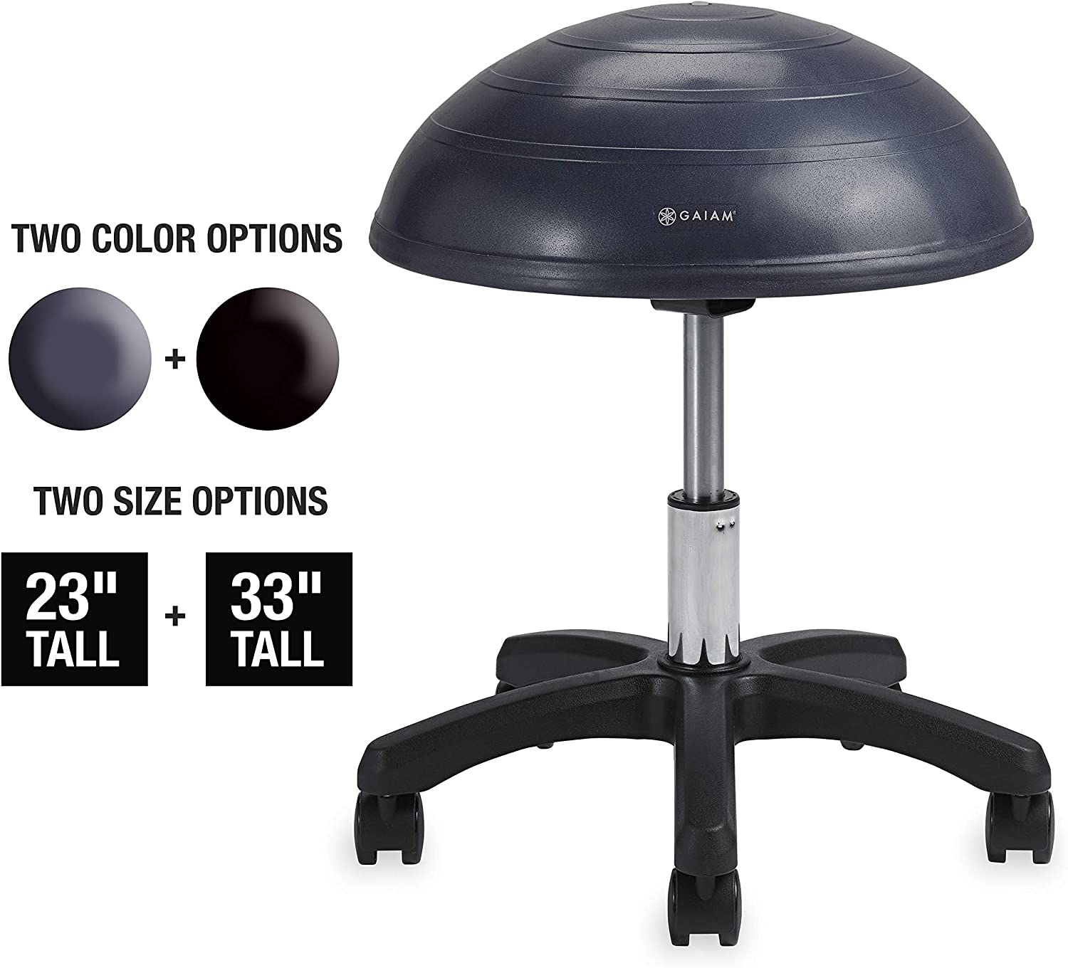 Gaiam Balance Ball Chair Stool, Half-Dome Stability Ball Adjustable Swivel Rolling Chair Drafting Stool for Desks in Office, Classroom, Doctors, Physicians, Massage Therapists, Salons - Granite 23