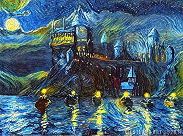 westlake art - Starry Night Castle Night Boats - 11x17 Art Print - Magical Merchandise, Van Gogh Starry Night, Fan, Birthday, Gift - Unframed 11x17 Inch